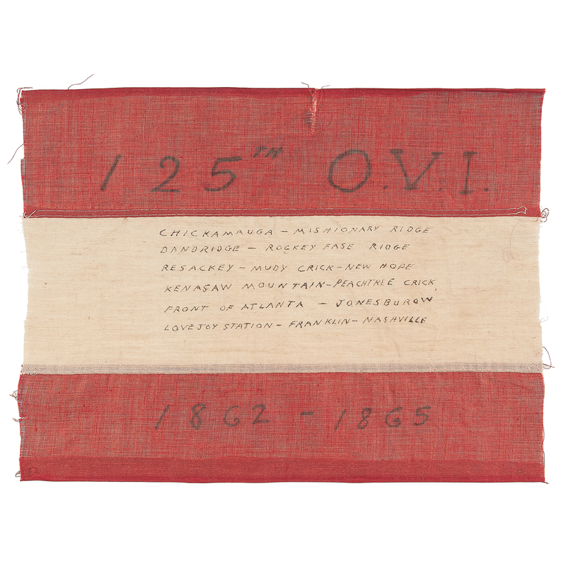 Ohio 125th Volunteers, Civil War Regimental Flag Relic with Letter from Soldier Who Acquired It