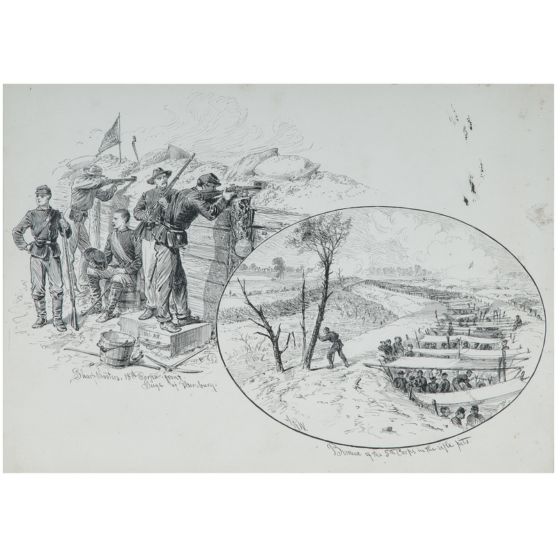 In the Federal Lines at Petersburg - Siege of Petersburg, Virginia, Drawings on Board by Alred R. Waud