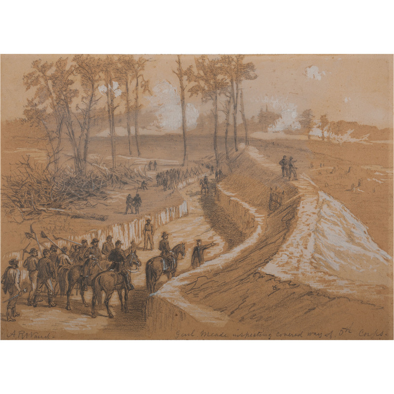General Meade Inspecting Covered Way of the 5th Corps, Petersburg, Virginia, Ca 1864-1865, Civil War-Era Sketch by Alfred R. Waud