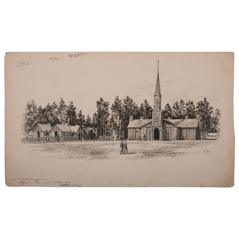 Poplar Springs Church, Petersburg, Virginia, March 1865, Pen and Ink Sketch by Edwin J. Meeker