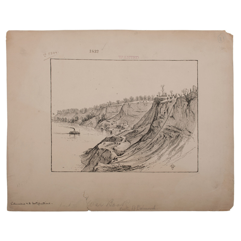 Confederate Fortifications at Columbus, Kentucky, November 1861, Pen and Ink Sketch by J.D. Woodward