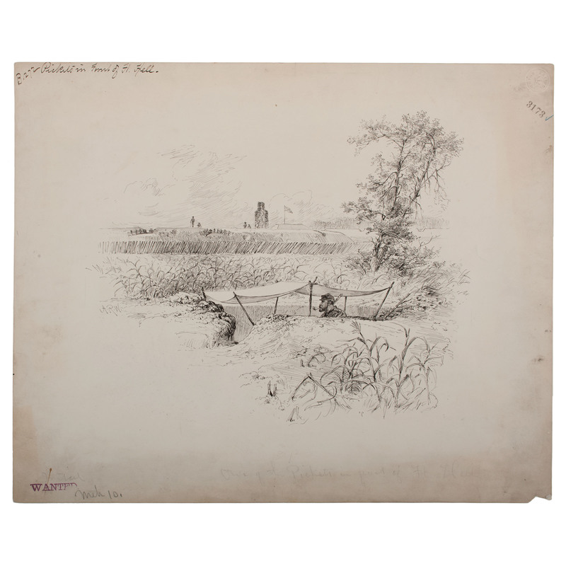 One of the Pickets in Front of Ft. Hell, Petersburg, 1864, Pen and Ink Sketch by Alfred R. Waud