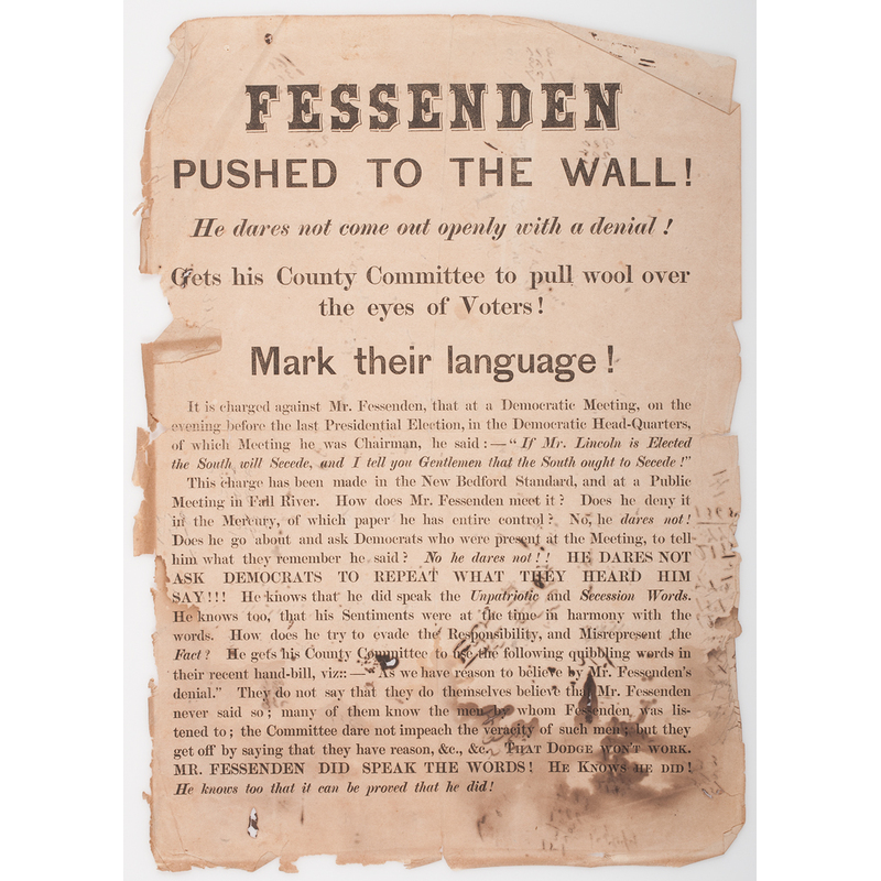 Civil War Political Broadside Fessenden Pushed to the Wall