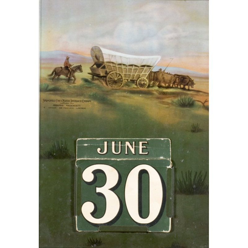 Western-Themed Chromolithographed Tin Insurance Calendar,