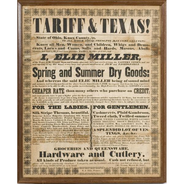 1844 Knox Co., Ohio Dry Goods Merchant Broadside,