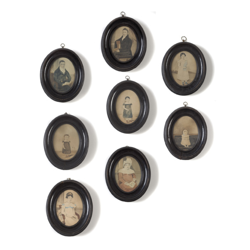 Rare Family Group of Eight Miniature Portraits,