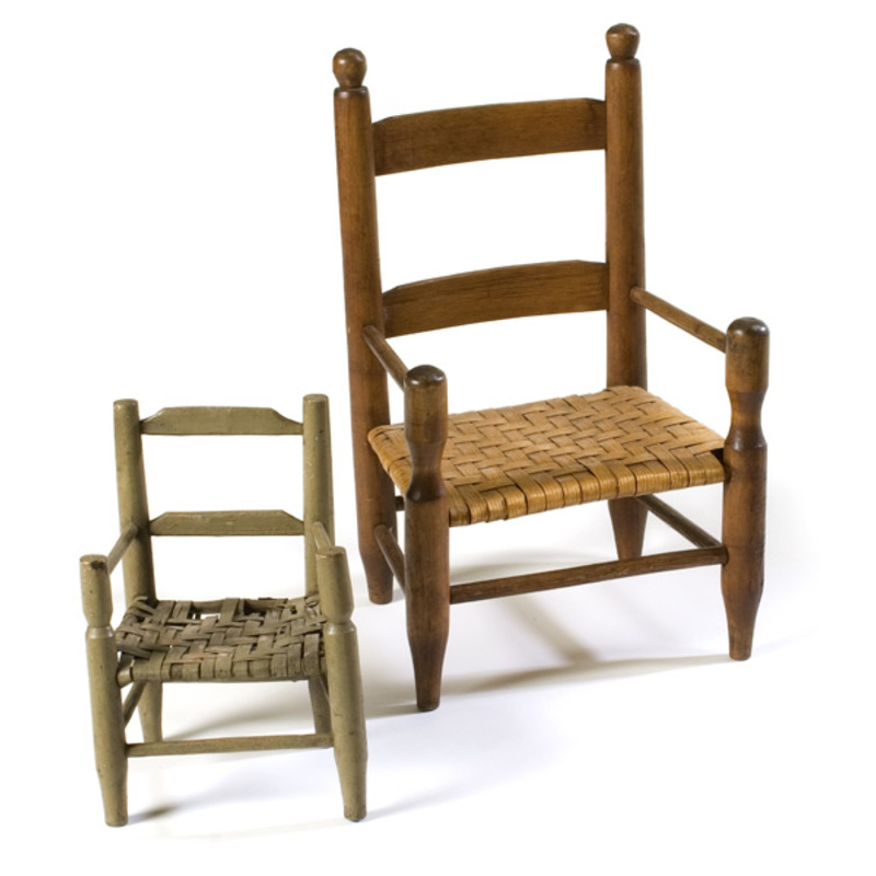 Early Child's Chair and an Early Painted Doll's Chair,