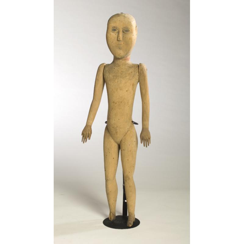 Early American Wooden Folk Art Doll,