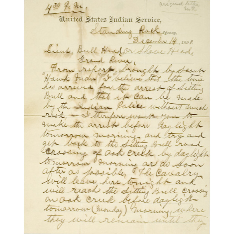 The Letters that Led Directly to the Death of Sitting Bull,