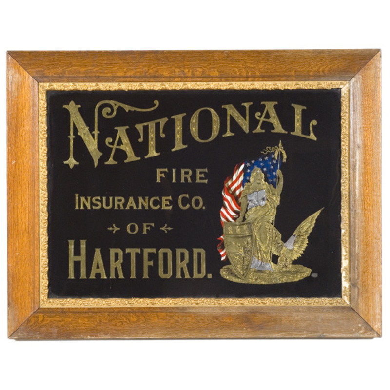Reverse-Painted Insurance Trade Sign with Liberty and Flag,