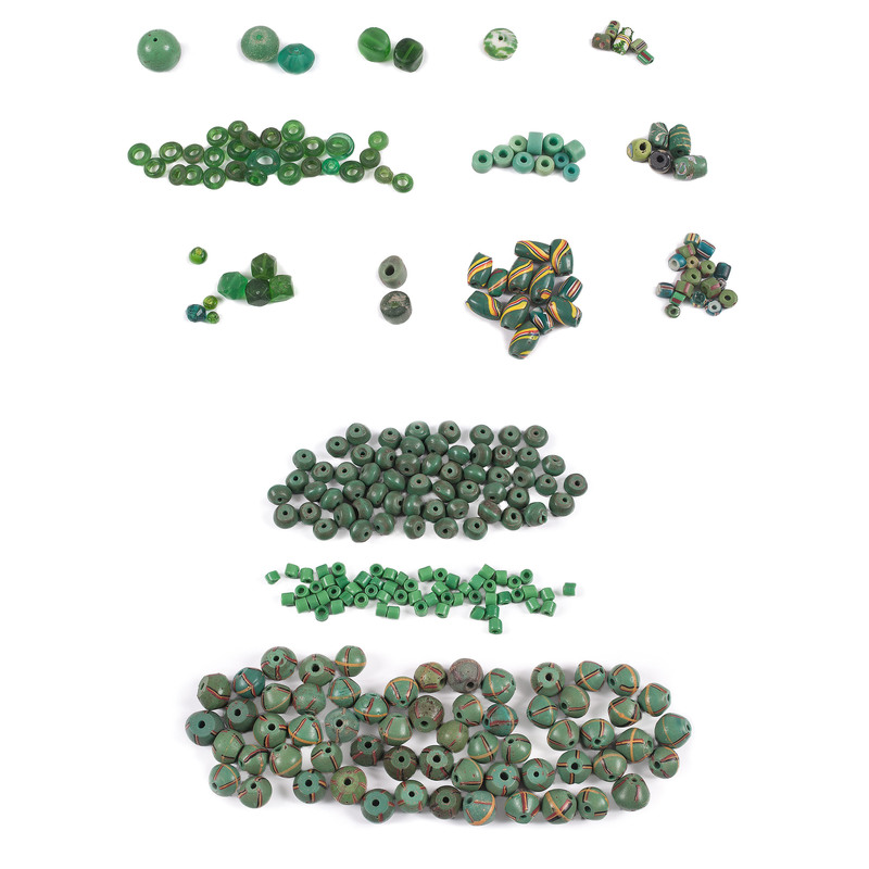 Variety of Green Trade Beads, From A New York Collector