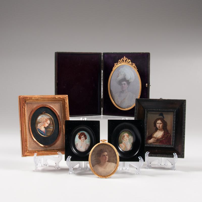 Continental Miniature Portraits on Ivory of Women, Lot of Six