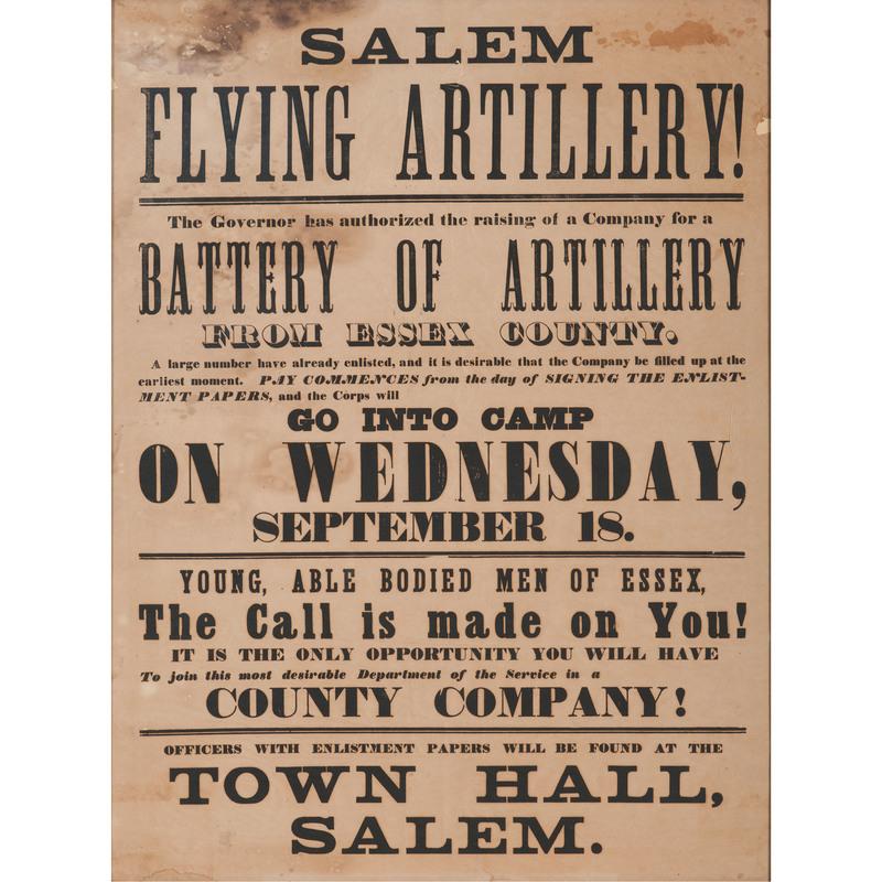 Salem Flying Artillery, Massachusetts Civil War Recruitment Broadside