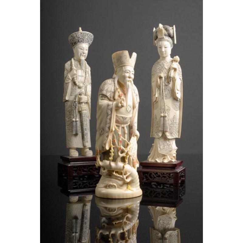 Three Chinese Ivory Figurines,