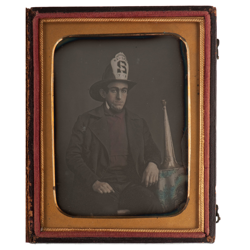 Remarkable Quarter Plate Daguerreotype of a Fireman and his Trumpet
