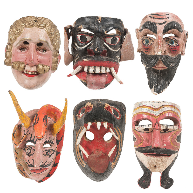 Collection of Colorful Mexican Parade Masks, Deaccessioned from Children's Museum of Indianapolis