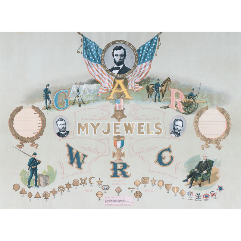 My Jewels, Rare GAR Chromolithograph Featuring Corps Badges and Abraham Lincoln