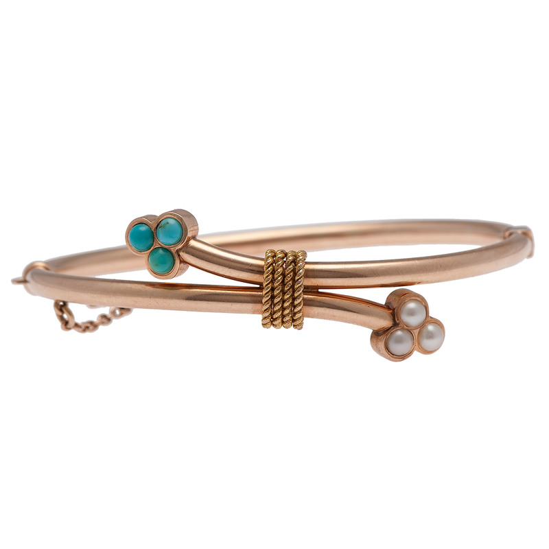 14 Karat Rose Gold Victorian Turquoise and Pearl Bracelet