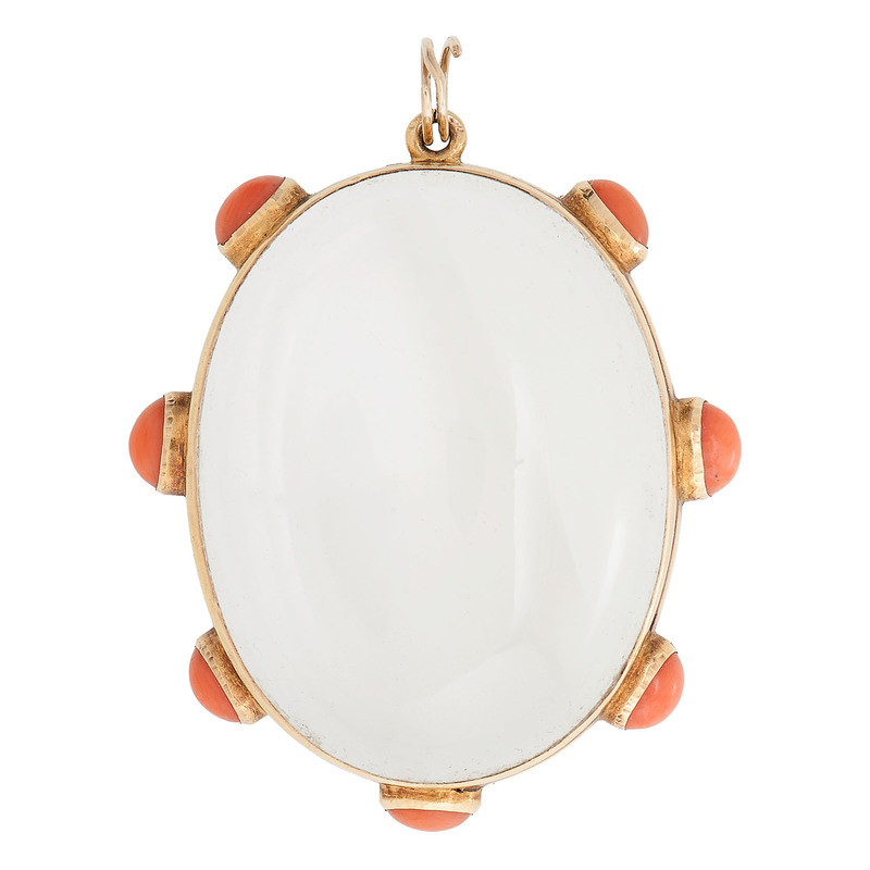 18 Karat Yellow Gold Victorian Rock Crystal and Coral Pendant