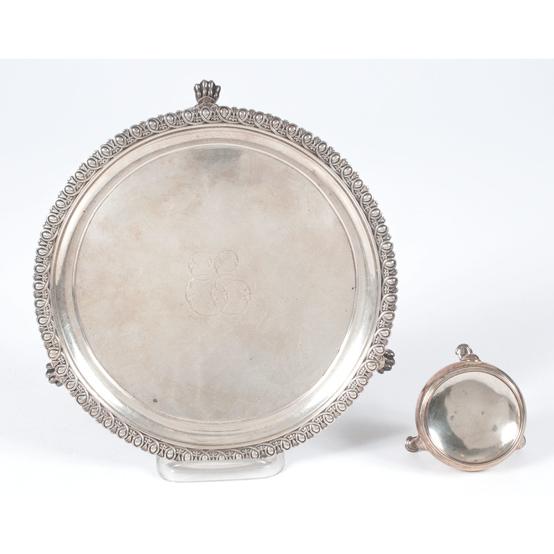 English Sterling Salver and Salt