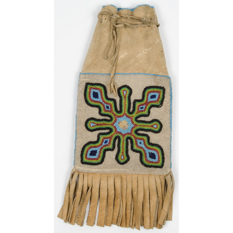 Prairie Beaded Hide Tobacco Bag, From an Old Nebraska Collection