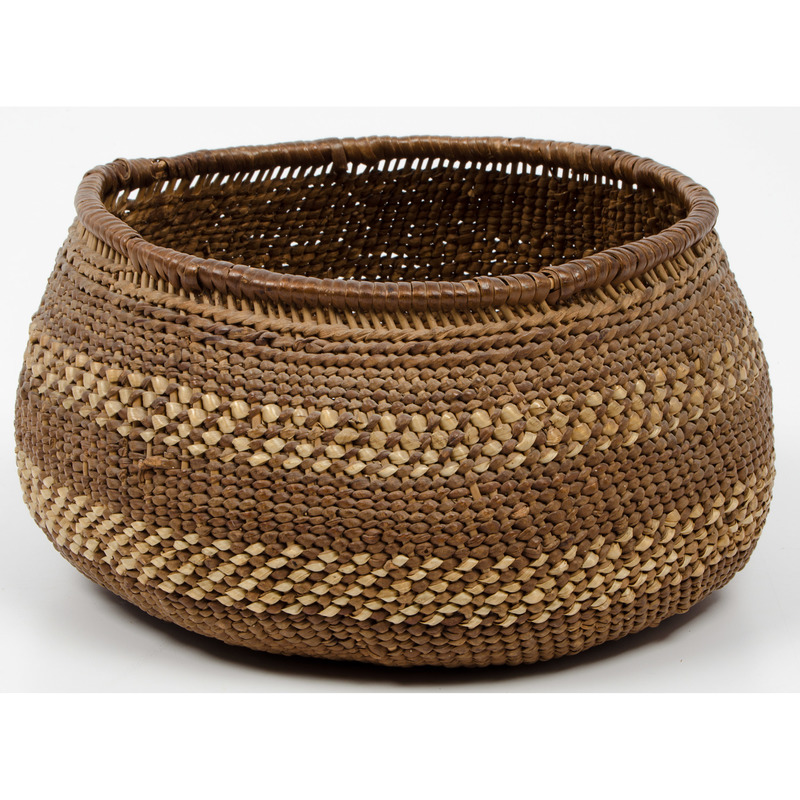 Salish Imbricated Storage Basket, From an Old Nebraska Collection