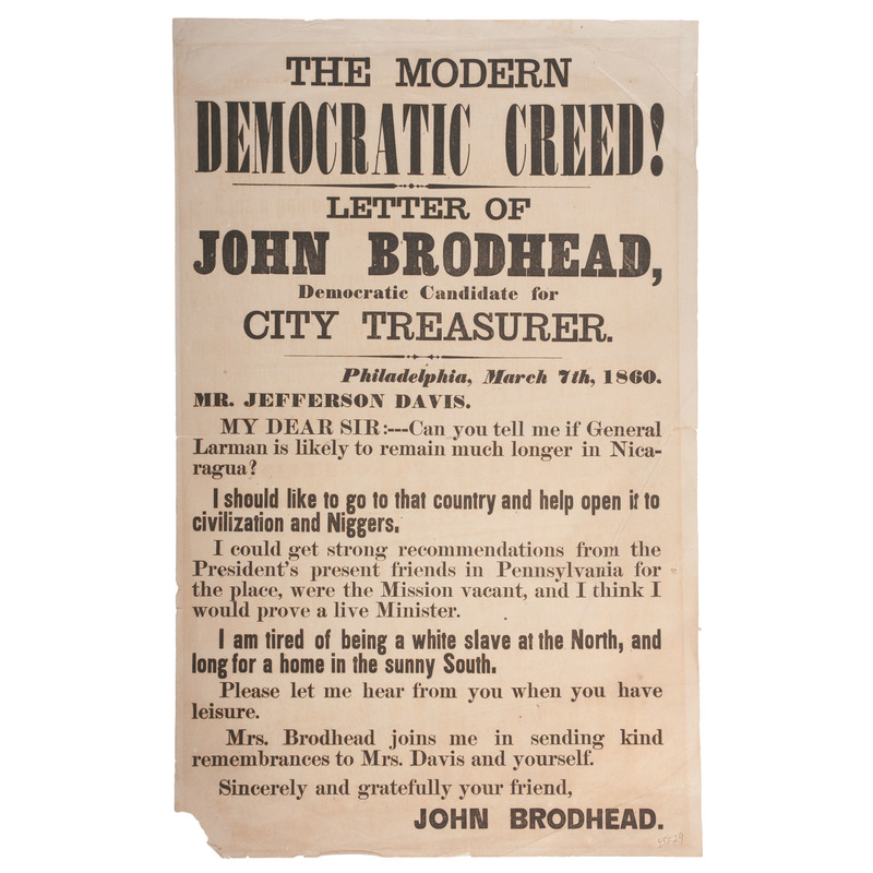 Modern Democratic Creed! Broadside Issued by John Brodhead