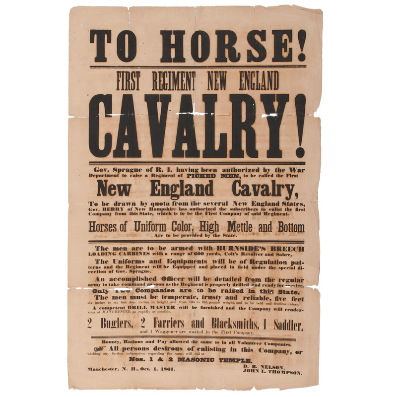 Rare Early First Regiment New England Cavalry Broadside