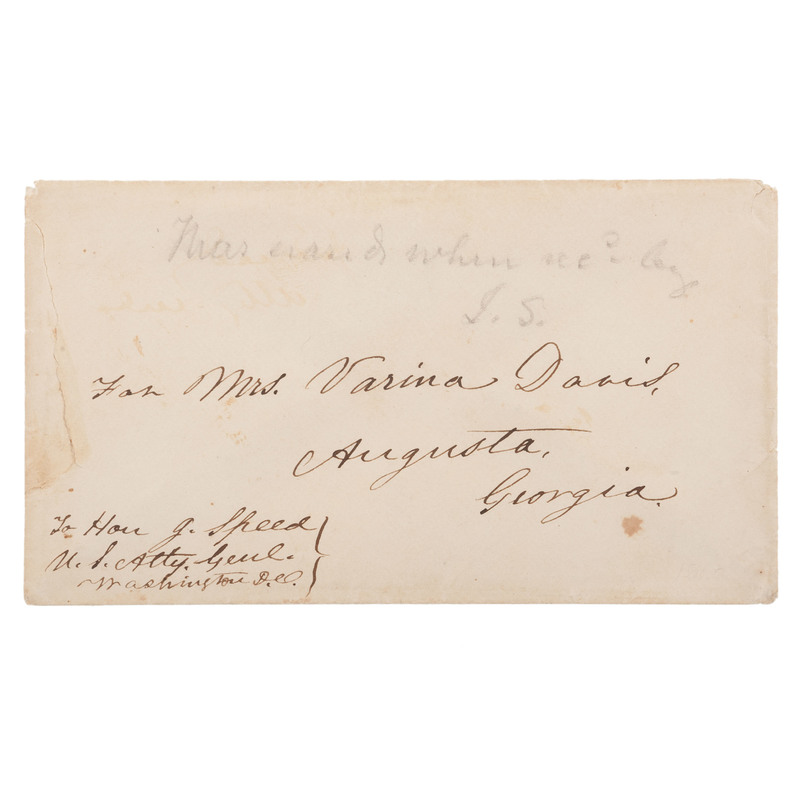Jefferson Davis, Autograph Envelope to his Wife from Fortress Monroe