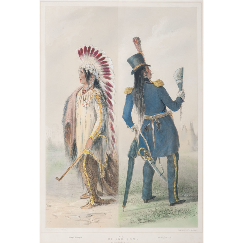 George Catlin  (American, 1796- 1872) Hand-Colored Lithograph on Paper