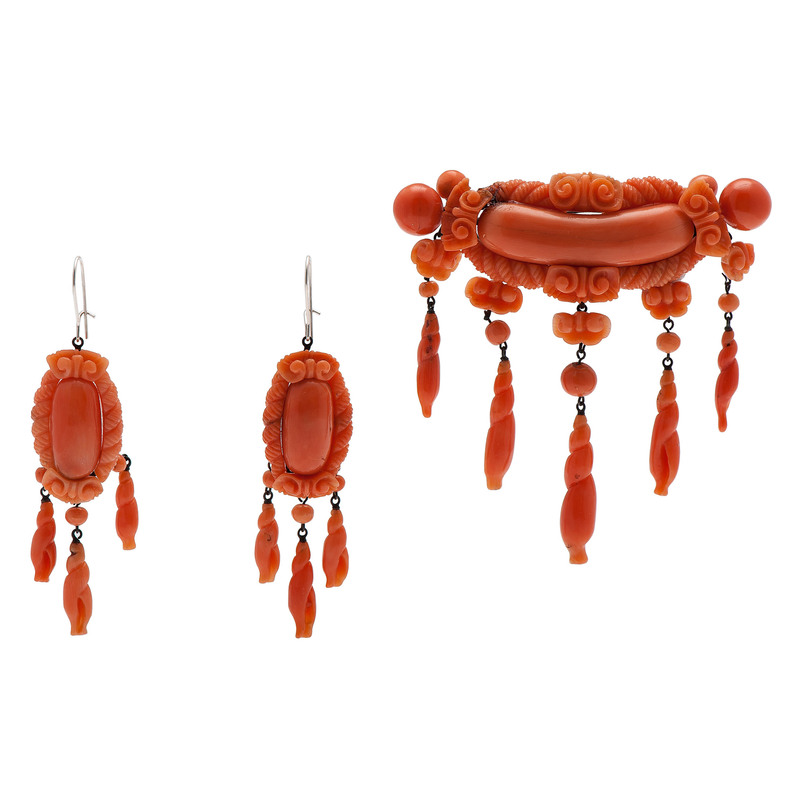 Victorian Carved Coral Earrings and Brooch