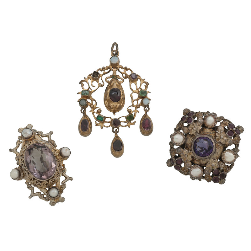 Austro Hungarian Gilt Brooches and Pendant