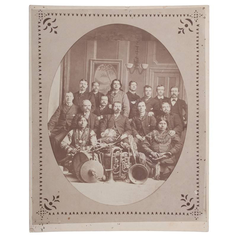 Early Photograph of William F. Cody and Buffalo Bill's Wild West Show Performers