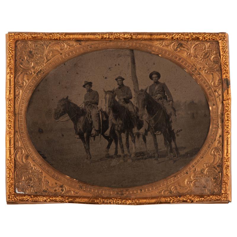 Half Plate Tintype of Three Western Cavalrymen in the Field