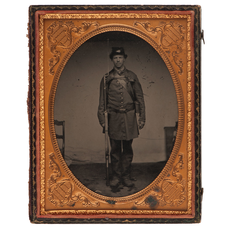 Half Plate Full-length Ambrotype of an Armed Union Soldier