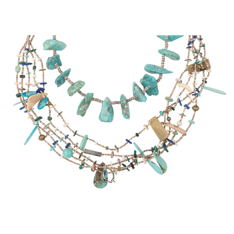 Pueblo Style Heishi and Turquoise Nugget Necklace PLUS