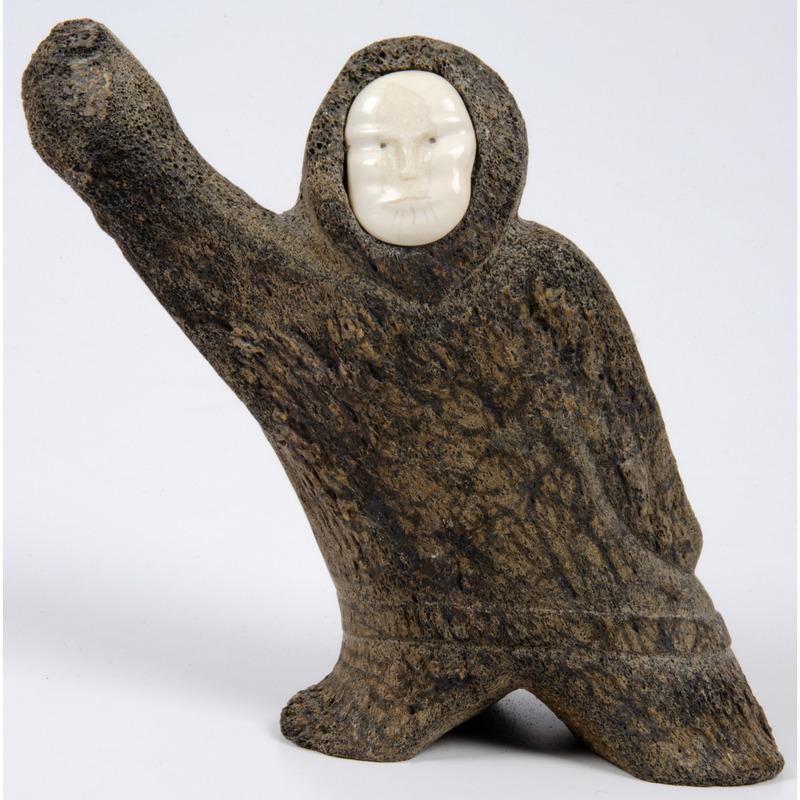 John Weyiouanna (Inuit, b.1973) Whalebone and Walrus Ivory Sculpture, PLUS