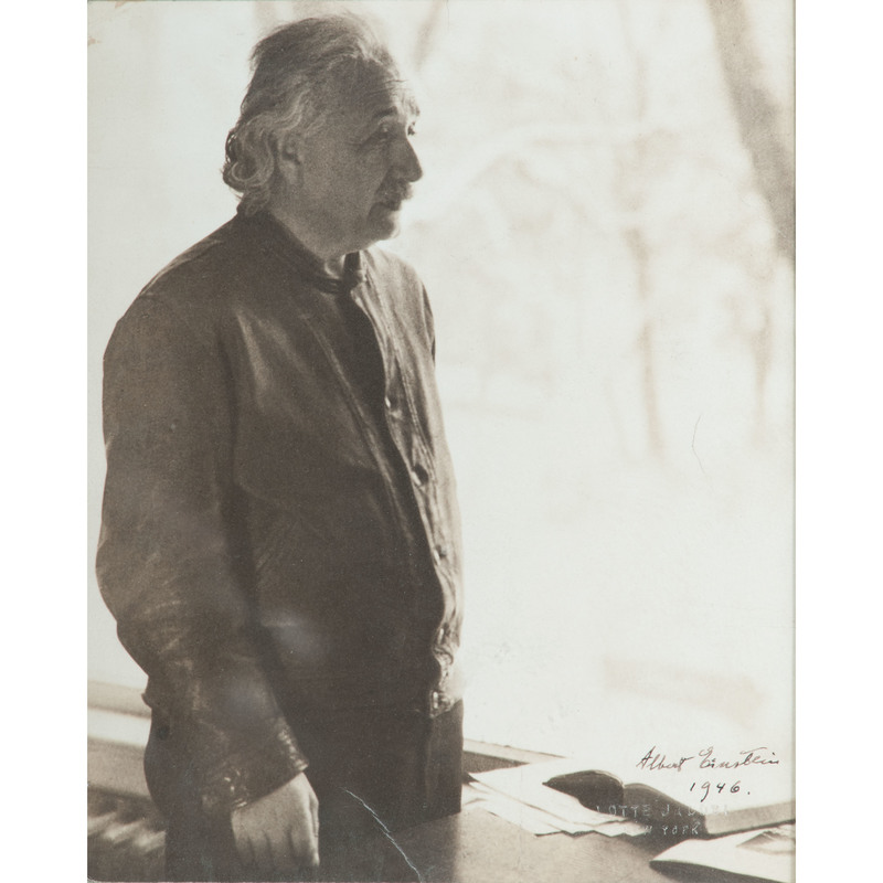 Albert Einstein, Signed Photograph in his Favorite Leather Jacket