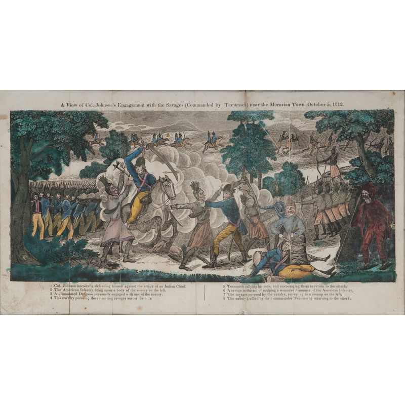 Rare Hand-Colored Engraving of War of 1812 Engagement Between American Forces and Tecumseh
