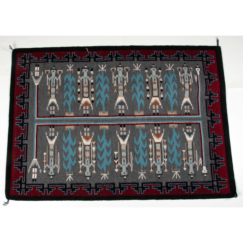 Amy Chavez (Dine, 20th century) Attributed, Navajo Double Yei Weaving / Rug