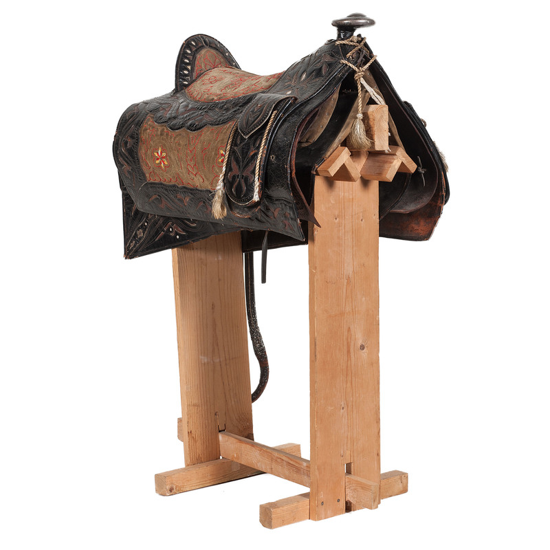 Scandinavian Embroidered and Tooled Saddle