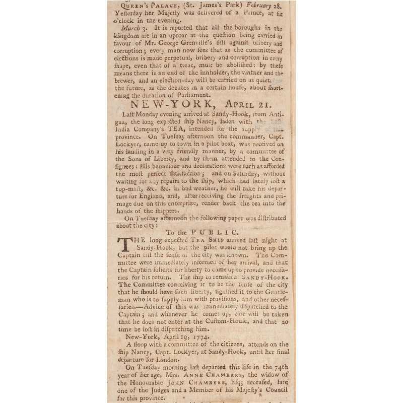 Rare Pre-Revolutionary War Newspaper, Rivington's New-York Gazetteer; or, the Connecticut, Hudson's River, New Jersey, and Quebec Weekly Advertiser, 1774