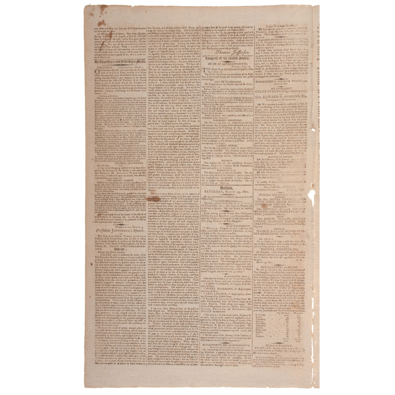Thomas Jefferson's First Inaugural Address Printed in Boston's Columbian Centinel