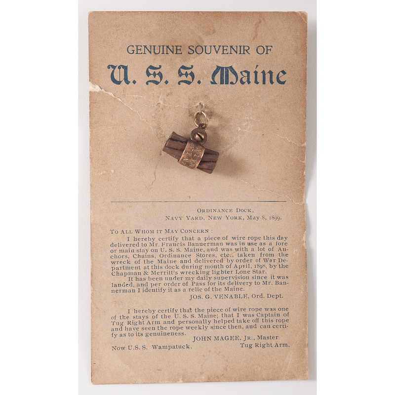 Spanish American War, Souvenir Piece of Cable from the USS Maine