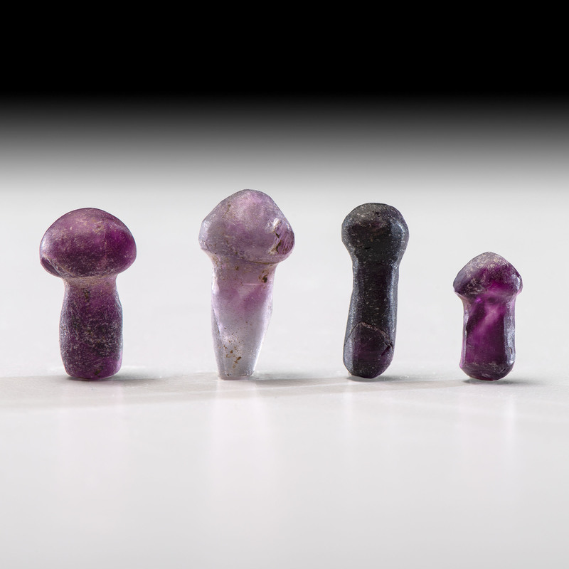 Four Dark Lavender Fluorite Ear Bobs; Longest 1 in.