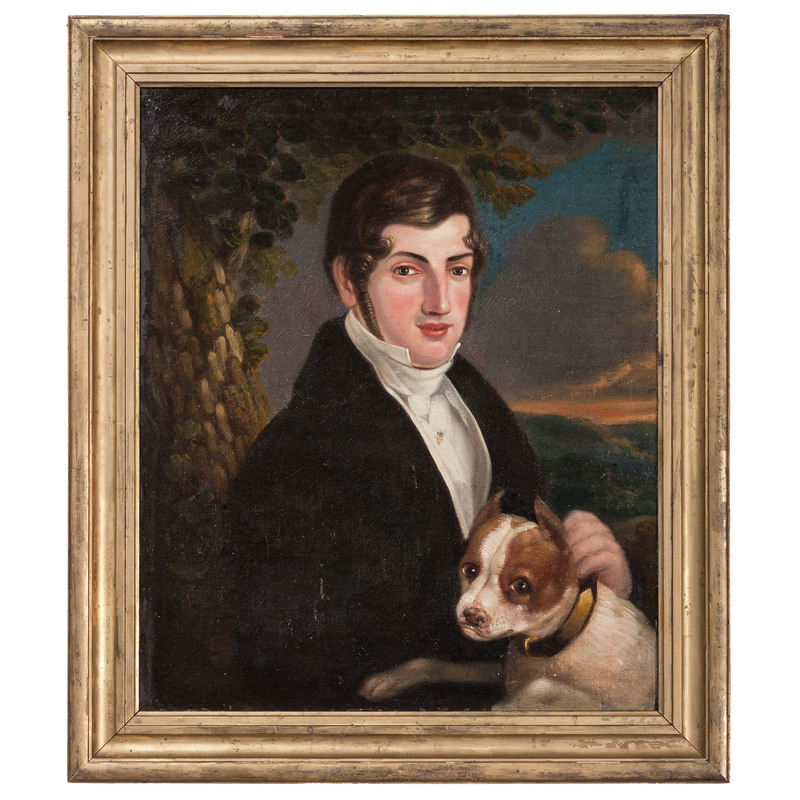 Portrait of a Man and Dog, Oil on Canvas