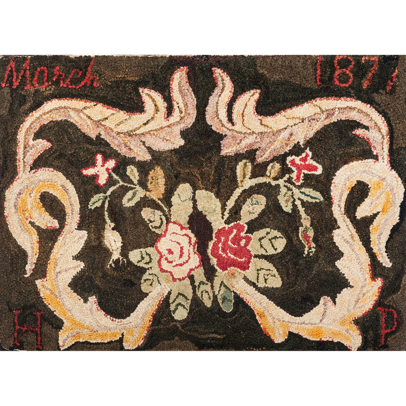 American Hooked Rug, Signed and Dated