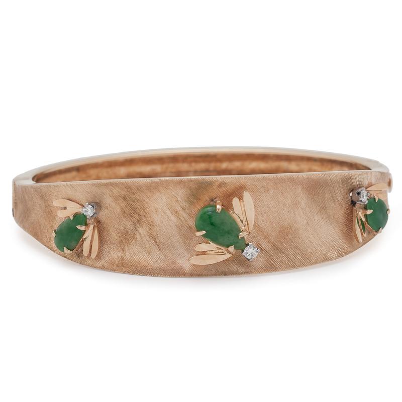 Louis Franklin Company 14 Karat Gold Jade and Diamond Bracelet