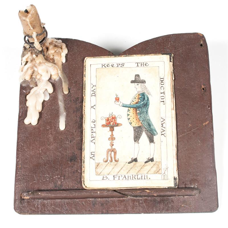Small Writing Desk with Benjamin Franklin Illustration