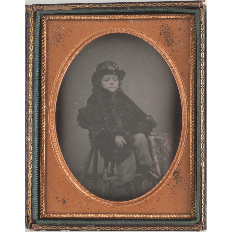 Quarter Plate Daguerreotype of a Haughty Young Boy in a Fur Trimmed Coat